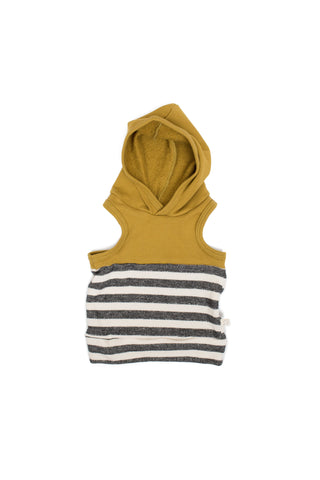 colorblock sleeveless hoodie in 'chartreuse + stripe'