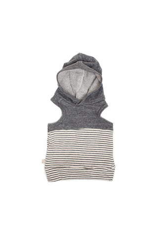 colorblock sleeveless hoodie in 'heather gray + stripe'