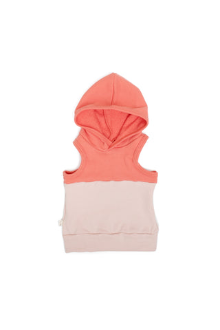 colorblock sleeveless hoodie in 'coral + blush'
