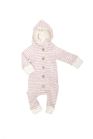 Hooded Romper in 'orchid dash dot'