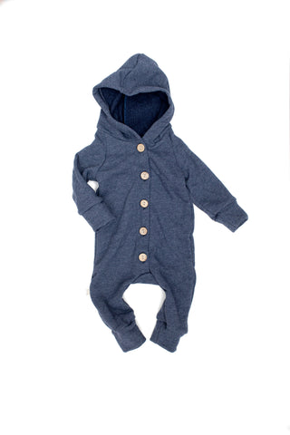 Hooded Romper in 'heather navy'