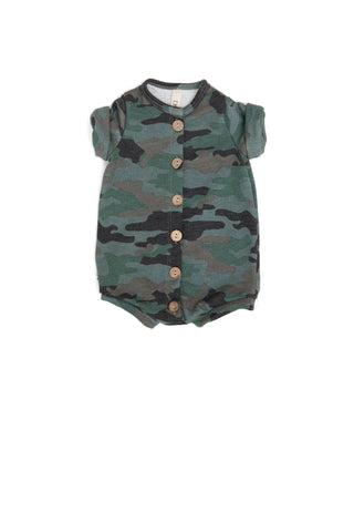 Rolled Sleeve Romper in 'camo' [please read sizing note]