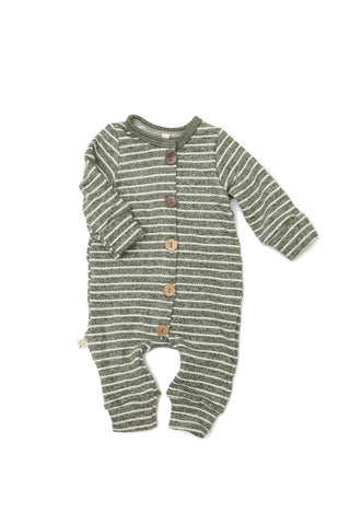 long sleeve romper - heather olive stripe