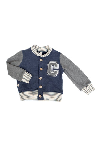varsity jacket in 'heather navy'