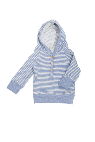 henley hoodie - chambray stripe