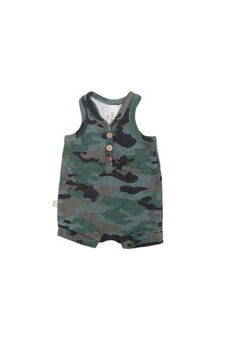 Short tank romper in 'camo' [please read sizing note]