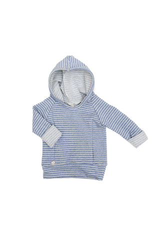 Beach hoodie in 'chambray stripe'
