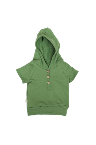 short sleeve henley hoodie in 'camp green'