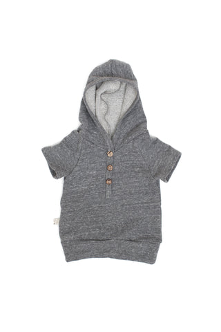 short sleeve henley hoodie in 'heather gray'