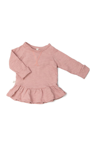 spring peplum crew in 'clay pink'