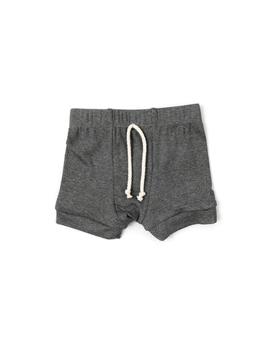 rib knit shorts - iron gray