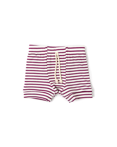 rib knit shorts - mulberry stripe