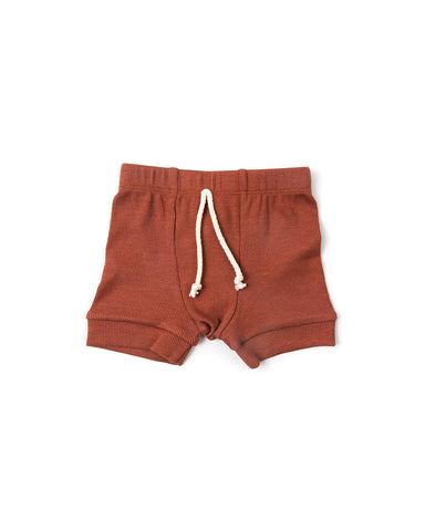 rib knit shorts - terra cotta