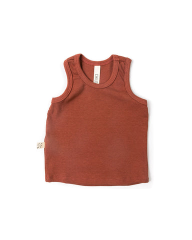 rib knit tank top - terra cotta