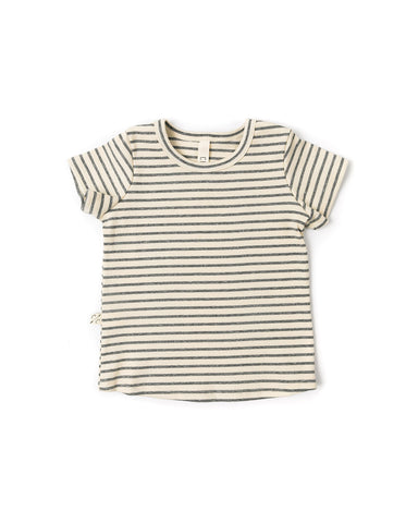 rib knit tee - heather gray stripe