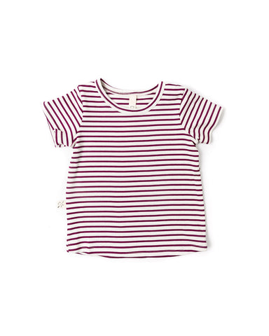 rib knit tee - mulberry stripe