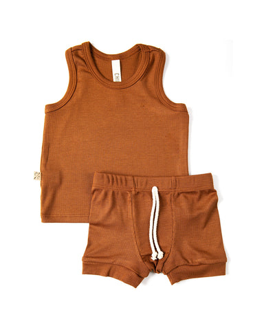 rib knit tank top - cognac