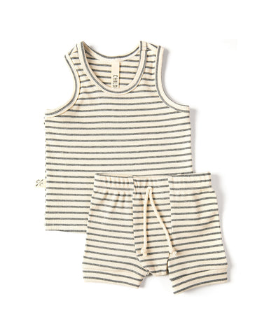 rib knit tank top - heather gray stripe