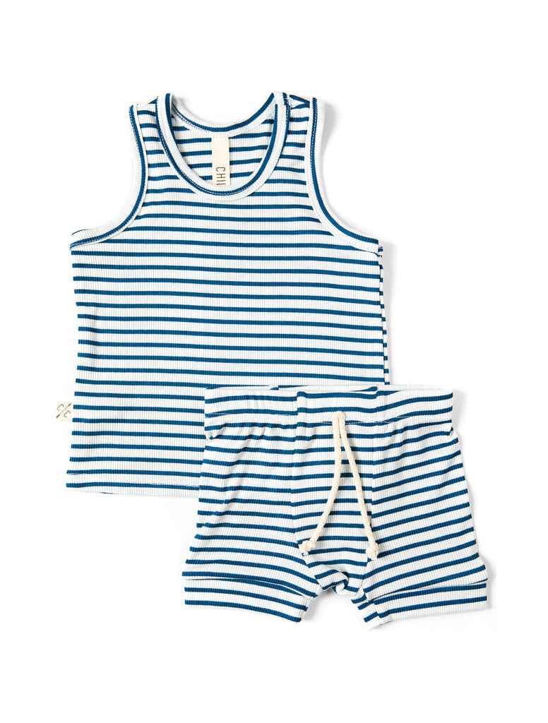 rib knit tank top - royal stripe