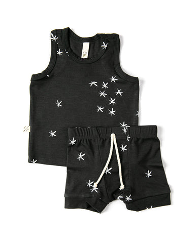 rib knit tank top - stars on midnight