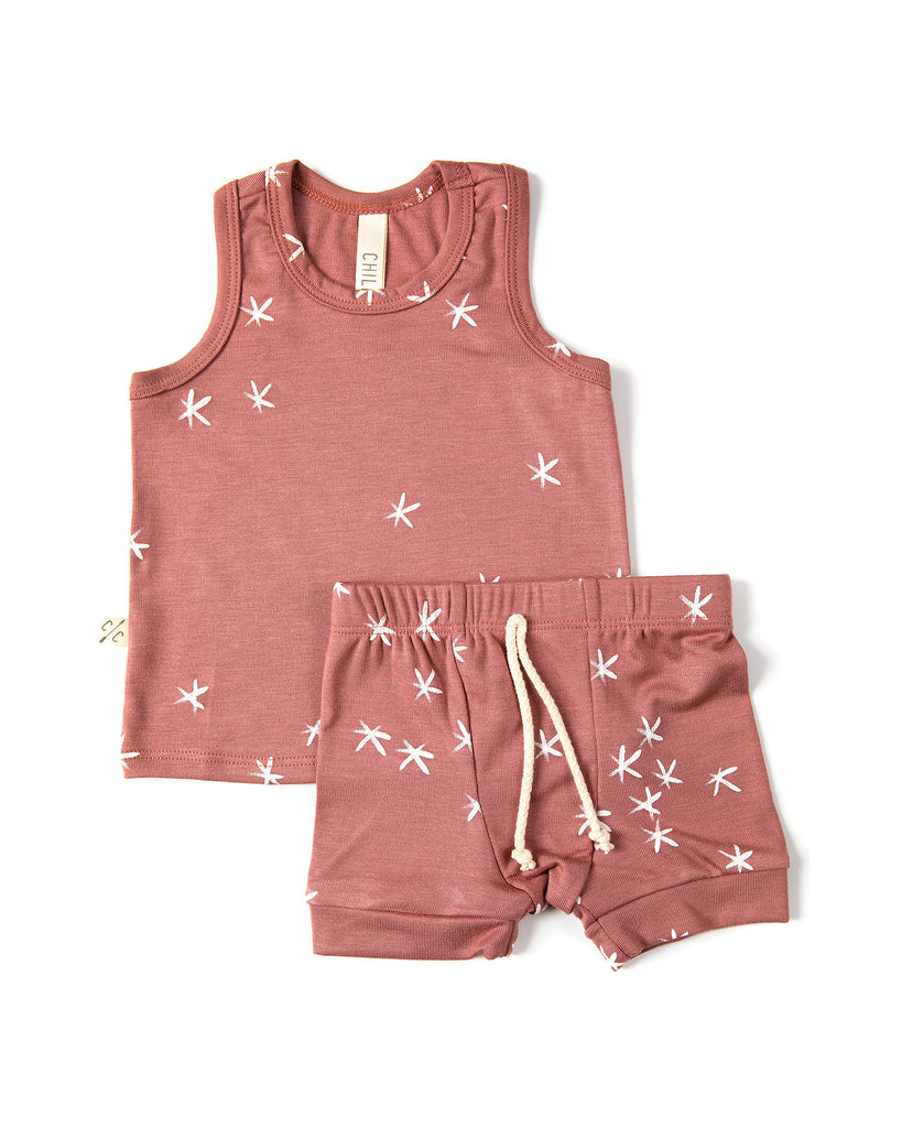 rib knit shorts - stars on quartz