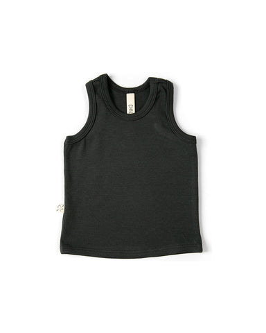 rib knit tank top - midnight tri-blend