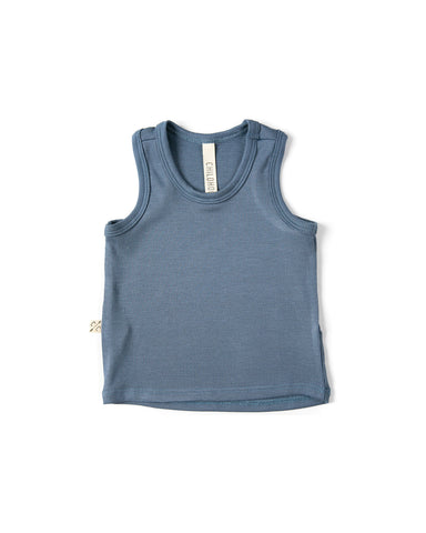 rib knit tank top - steel blue