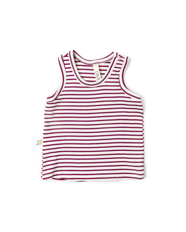 rib knit tank top - mulberry stripe