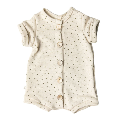 rolled sleeve romper - dots on oatmeal