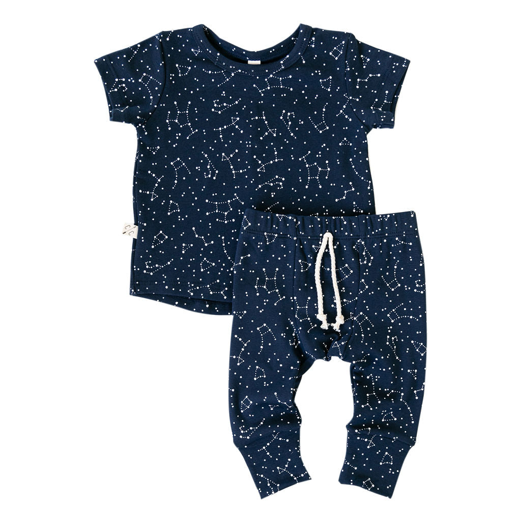 rib knit tee in 'constellations' on navy - see note about print