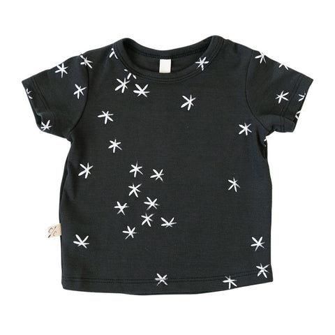 rib knit tee in 'stars' on midnight - see note about print