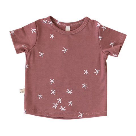 rib knit tee in 'stars' on quartz - see note about print