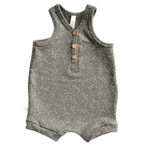 short tank romper in 'constellations' on faded black