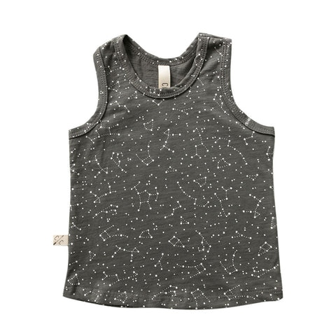 tank top - constellations on faded black