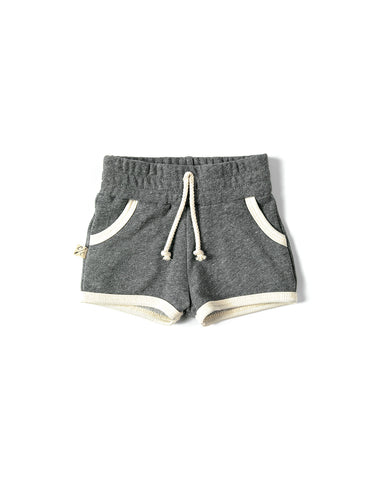 french terry retro short - heather gray