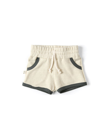 french terry retro short - linen