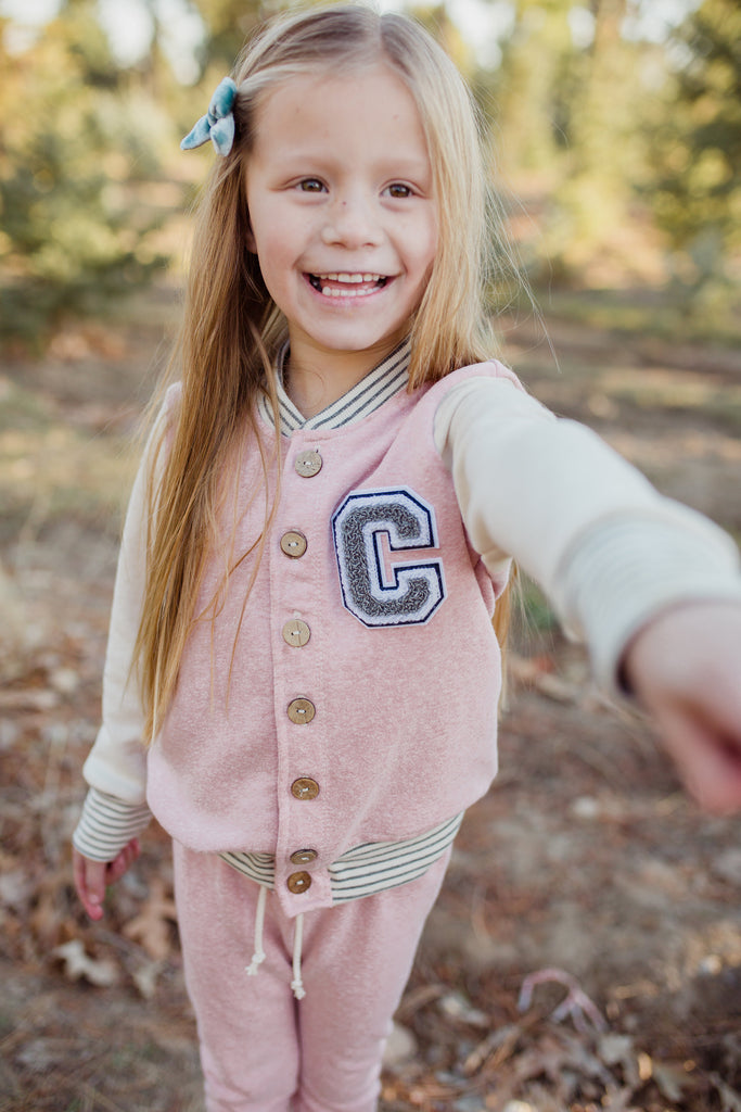 varsity jacket in 'heather pink'