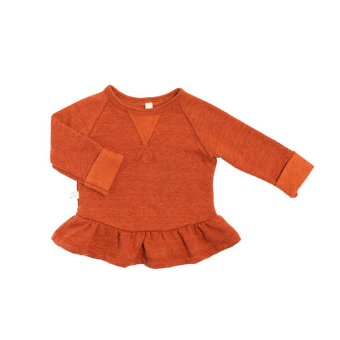 peplum crew in 'cinnamon'