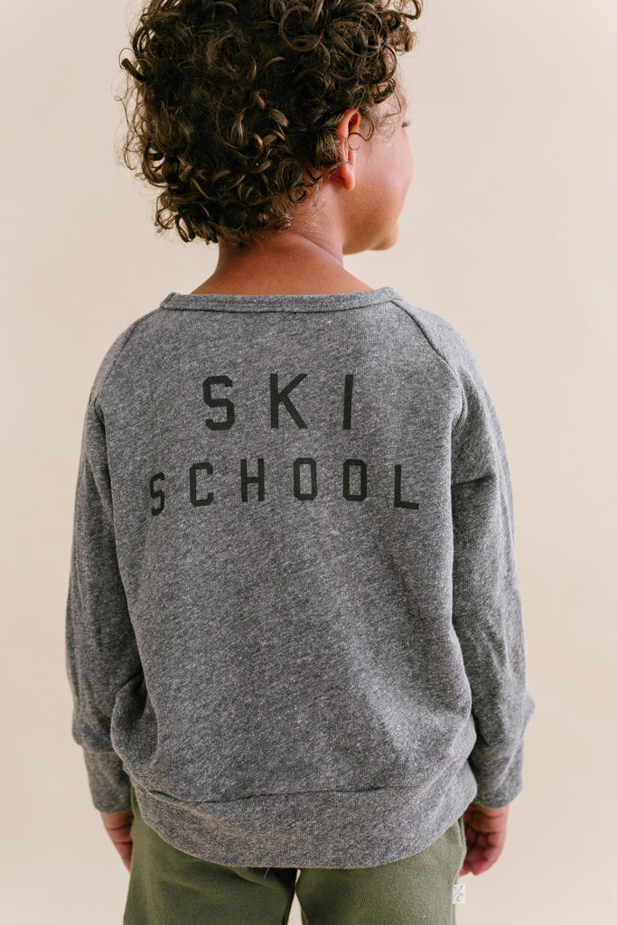 pullover crew in 'ski school' on heather gray