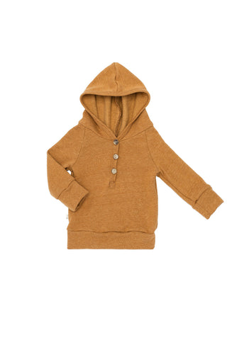henley hoodie in 'honey'