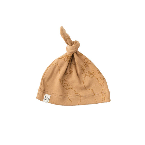knot hat - maps on camel [final sale]