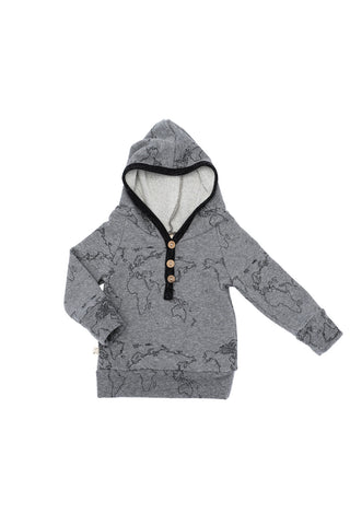 henley hoodie in 'maps' on heather gray