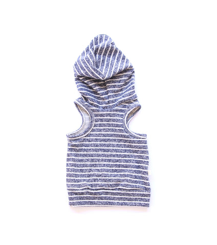 sleeveless hoodie in 'navy stripe'