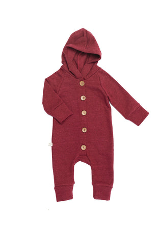 hooded romper in 'maroon'