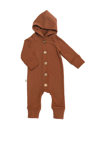 hooded romper in 'cognac'