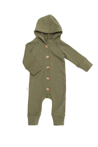 hooded romper in 'olive'