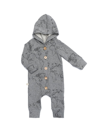 hooded romper in 'maps' on heather gray