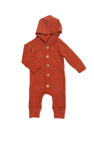 hooded romper in 'cinnamon'