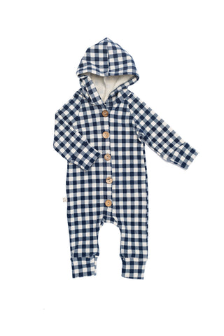 hooded romper in 'navy plaid'
