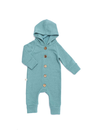 hooded romper in 'oil blue'